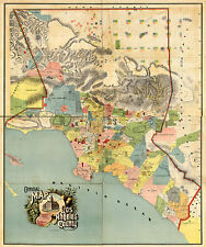 1888 Los Angeles County Map Wall Poster Print Vintage History Home School Office