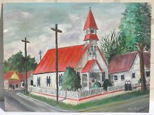 Vintage 1950's Original Folk Art Painting Old Southern Church Chapel Tin Roofs