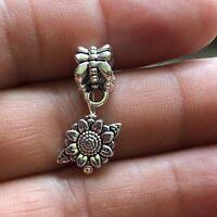 3D Sweet Daisy 2 sided Silver Dangle Mini Sun Flower for European Charm Bracelet