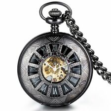 Mechanical Skeleton Black Case Hollow Roman Numerals Vintage Pocket Watch Chain