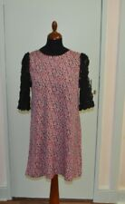 Pink and blue vintage-style print with black lace floral sleeves size medium