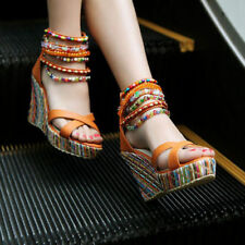 Ankle Strappy Platform Roman Sandals Womens Wedge High Heel Beaded Shoes Plus Sz