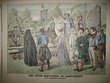 BRETAGNE SAINT-BRIEUC CEREMONIE BARDIQUE CHASSE OURS PARIS LE PETIT JOURNAL 1906