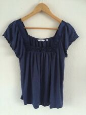 New Look Blue Top T Shirt Ruffled Sleeve Detailed Size 12 <R1338
