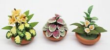 NEW Set Of 3 Dolls House Miniature 1:12 Scale Flowers Plants In Ceramic Pots