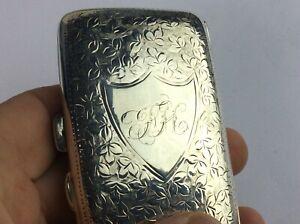 Beautiful Solid Silver Edwardian Cigarette Case Birmingham 1910 Ship Worldwide