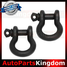 "1 Pair 3/4"" BLACK 4.75 Ton D-Ring Bow Shackle Heavy Duty Off road ATV RV Bumper"