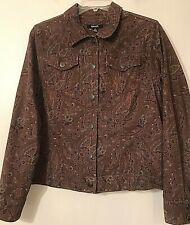 KrazyKat Woman's Brown Floral Paisley Corduroy Cropped Jacket Size Medium EUC