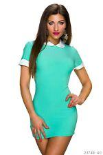 Sexy Kleid Party Kurzarm-Minikleid aus feinem Stoff Größe 32/34/36 Türkisgrün