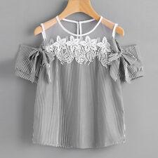 2017 Women off Shoulder Lace Blouse Tops Summer Short Sleeve Loose Striped Shirt Pink 2xl