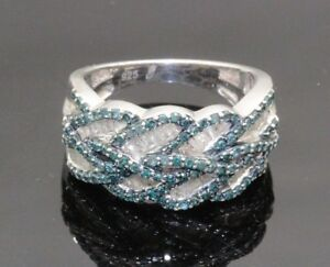Women's 925 Sterling Silver Blue and White Diamond's Cocktail Band Ring #20120