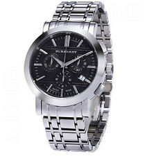 100% Authentic Burberry Mens Stainless Steel Chronograph Black Dial BU1366 Watch