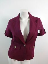 NWOT EAST 5TH BURGUNDY LINEN RAYON BUTTON BLAZER JACKET SIZE PM SUPER CUTE