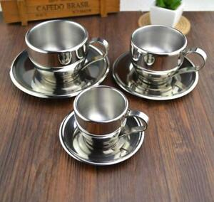 Double Layer Coffee Cup Set Flower Tea Cups Espresso Fashion Stainless Steel New