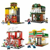 4 Sets Mini City Street Coffee Shop Hamburger Store Building Blocks For Children