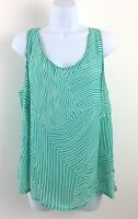 Louis Feraud Contraire size 16 Sleeveless Top Sea Green & White Geometric Stripe