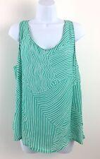 Louis Feraud Contraire Sleeveless Top Sea Green & White Geometric Stripe Size 16