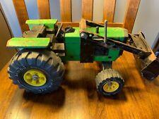 Vintage Tonka John Deere Green Metal Tractor XMB-975 Tires - Loader Bucket