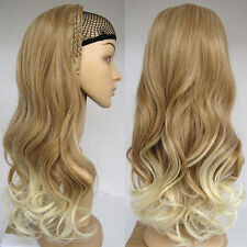 Ombre Half Wig 3/4 Two Tone Brown Mixed Blonde Wig Fall Curly Wig with Headband