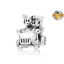Disney, Mickey & Minnie Vintage Car Charm For  Bracelet, Birthday Gift, Silver