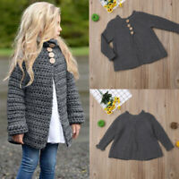 Baby Boy Girl Knitted Cardigan Sweater Toddler Kids Warm Coat O-neck Button Tops