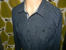 Eighty Eight long sleeve button down casual shirt men's Large blue cotton/poly