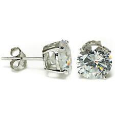 6mm Round Basket Set Diamond Alternatives Stud Earrings Solid 14kt White Gold
