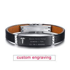"7.2"" Medical Alert ID Men Male Bracelet Genuine Leather Armband Custom Engraving"