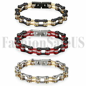 Men's Punk Heavy Stainless Steel Motorcycle Biker Chain Link Bracelet Jewelry