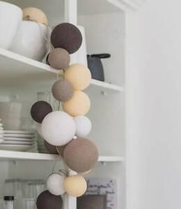 Original Cotton Ball Lights 20er Lichterkette mit Netzteil, Farbe Natural Softs