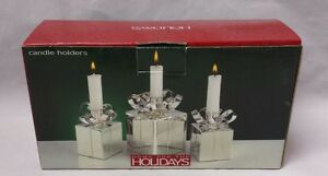 Silver Plate Candle Holders: Home for the Holidays, Present, Gift Taper Set of 3