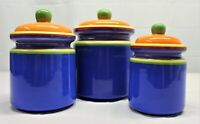 Hand painted kitchen canisters Dansk pre-owned vibrant colors blue Set Of 3
