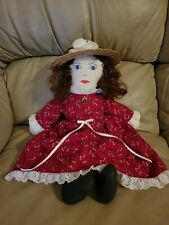 """HANDMADE DOLL AND CLOTHES IN BROWN HAIR WITH MATCHING STRAW HAT 21"""""""