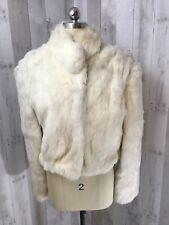 Vintage Fur Coat~Super Soft Rabbit Bomber 1970-80s Blonde/White 44 Bust
