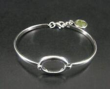 Bracelet Silver Shamrock Lucite Charm Dangle Sterling 925 Bangle Bracelet