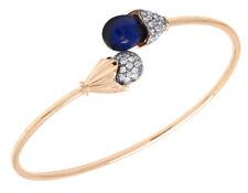 14K Rose Gold Real Diamond Ladies Designer Blue Onyx Flex Bangle 1/1 CT