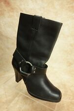 Harley Davidson Black Leather High Heel Harness Riding Motorcycle Boots Womens 7