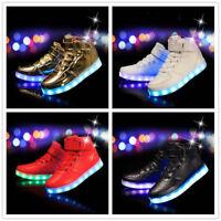 Boys Girls Flashing LED Trainers Luminous Light Sneakers Kids Sports Shoes Size