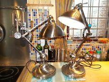 Brush Steel Modern stunning Pair of Industrial lamps, V G C