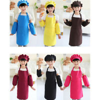 Kids Painting Apron Set with Hat Pocket Kitchen Chef Cooking Art Custome G