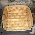 """RARE Royce Craft Basket 14"""" x 14""""x 5"""" Signed & Dated 10-26-99 Leather Handles"""