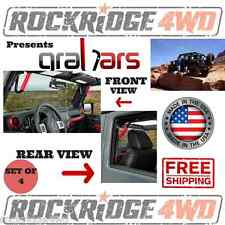 Jeep Wrangler JK 4-Door 07-18 Front & Back GraBars Hard Mount Solid w/ Red Grips