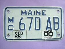 MAINE MOTORCYCLE LICENSE PLATE 1990'S 2000'S VERY NICE CONDITION, DISPLAYS WELL