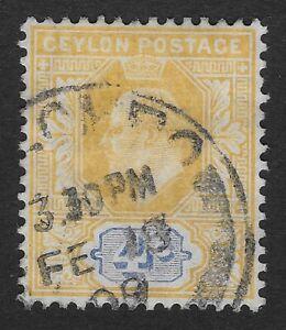 Ceylon 1903-5 SG#267, 4c Orange-Yellow & Blue KEVII Used (Z1)