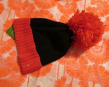 Kate Spade New York Hat BIG Pom Colorblock Black Pink Swirl NEW