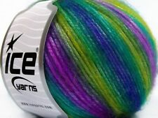 Ice Picasso Yarn #65936 Lilac Green Blue Bright Color Self Striping 50 Grams