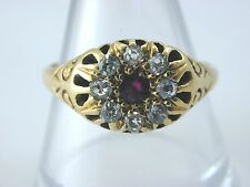 Antique Victorian ruby & diamond cluster ring circa 1880 size 'Q' 5.2 grams