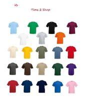 Maglietta Tshirt Nuove UK Fruit Of The Loom 100% Cotton Tinta Unita Semplice