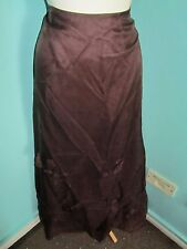 MONSOON LONG ANKLE LENGTH 100% SILK SKIRT BROWN SIZE 10 OVERLAID FLOWERS LINED