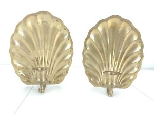"""Brass Clam Shell Sconces 7.75"""" Candle Holders Hanging Free Standing Oval Home"""